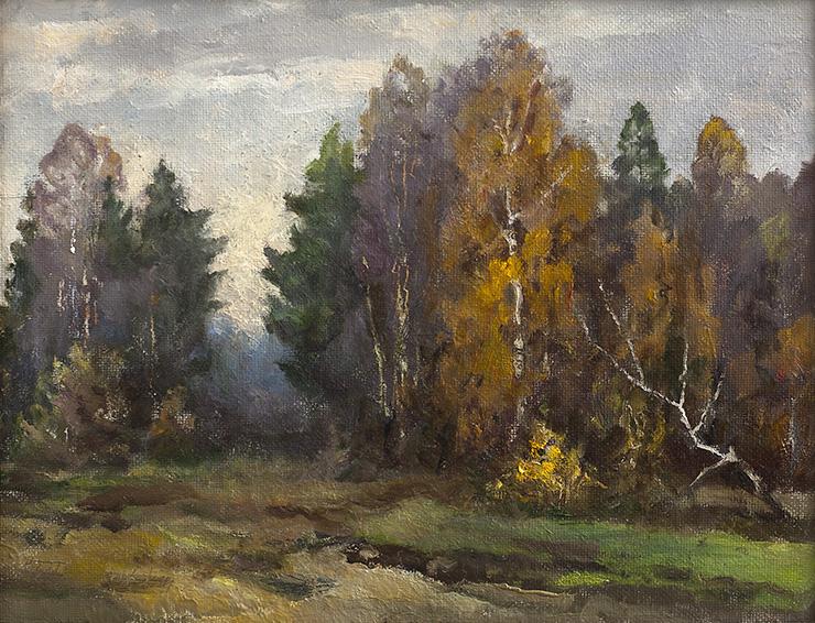 Б. Прозоровский. Осенний перелесок. 2001 Картон, масло. 34,5 х 45 см.