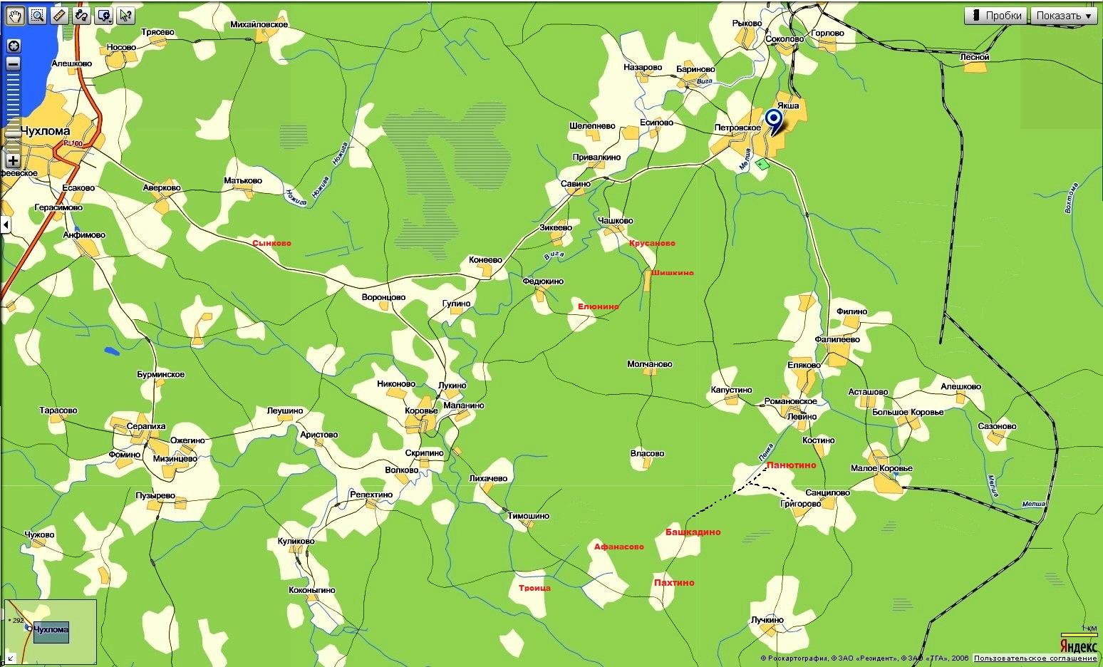 Елюнино - Введенское (карта)