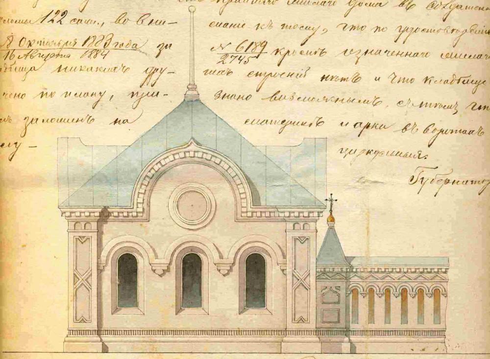 Вид каменной сторожки на проекте стройки каменной ограды кругом кладбища при городе Чухлома, октябрь 1875 года