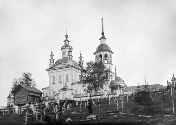 Село Чалово. Богородицерождественская (слева) и Николаевская церкви.