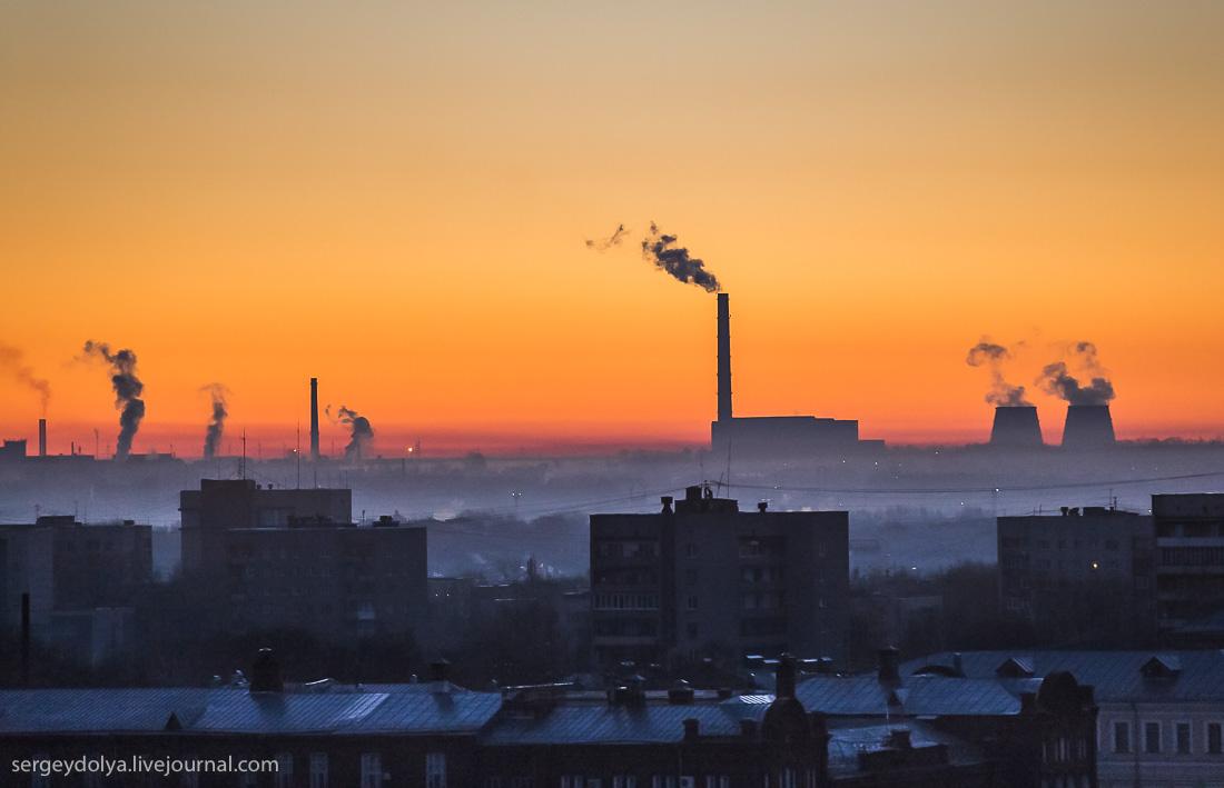 Рассветная Кострома. Вид из корзины аэростата. Фото SERGEYDOLYA*