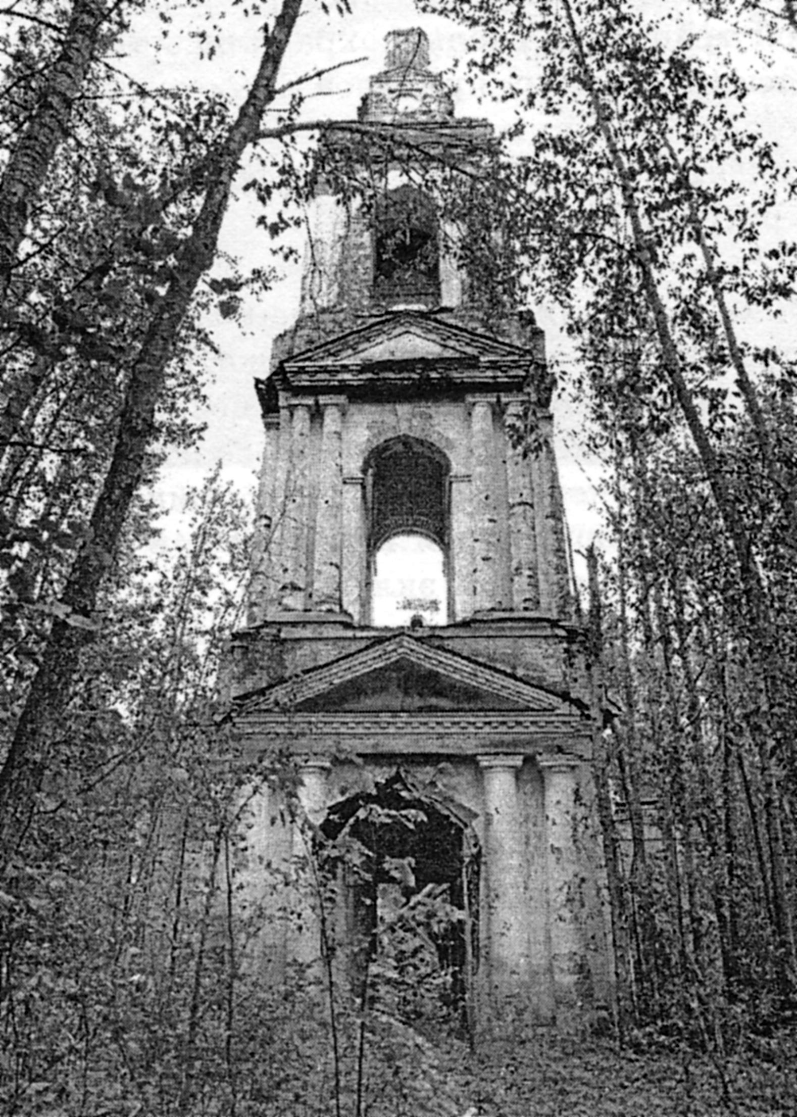 Ризоположенская церковь с. Озерки. Колокольня. фото 2000 года.
